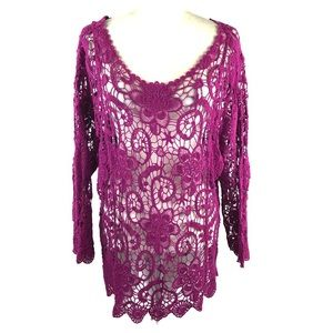 Le Moda Purple Crochet Lace Top